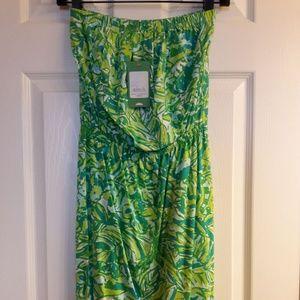Fresh Citrus Green Parrot Windsor Strapless Dress